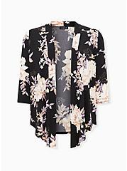 Black Floral Studio Knit Drape Front Cardigan, , hi-res