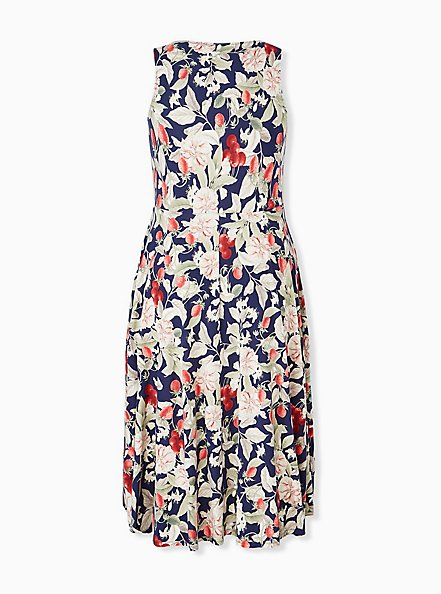 Navy Floral & Fruit Ponte Midi Dress, FLORAL - MULTI, alternate