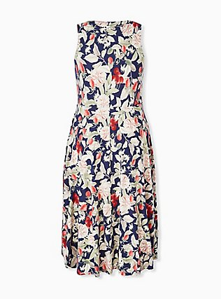 Plus Size Navy Floral & Fruit Ponte Midi Dress, FLORAL - MULTI, alternate