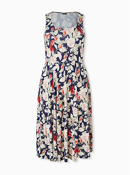 Navy Floral & Fruit Ponte Midi Dress, FLORAL - MULTI, hi-res