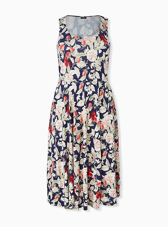 Navy Floral & Fruit Ponte Midi Dress, , hi-res