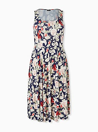 Plus Size Navy Floral & Fruit Ponte Midi Dress, FLORAL - MULTI, hi-res