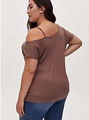 Super Soft Dark Taupe Cold Shoulder Strappy Tee, DEEP TAUPE, alternate