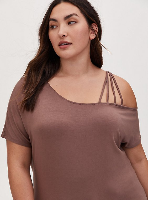 Super Soft Dark Taupe Cold Shoulder Strappy Tee, , hi-res