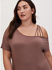 Super Soft Dark Taupe Cold Shoulder Strappy Tee, DEEP TAUPE, hi-res