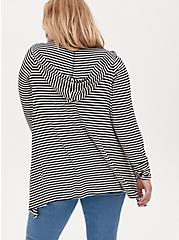 Super Soft Black & White Stripe Drape Front Hi-Lo Hooded Cardigan, STRIPE - MULTI, alternate
