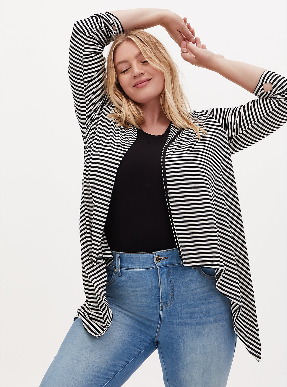 Super Soft Black & White Stripe Drape Front Hi-Lo Hooded Cardigan, STRIPE - MULTI, hi-res
