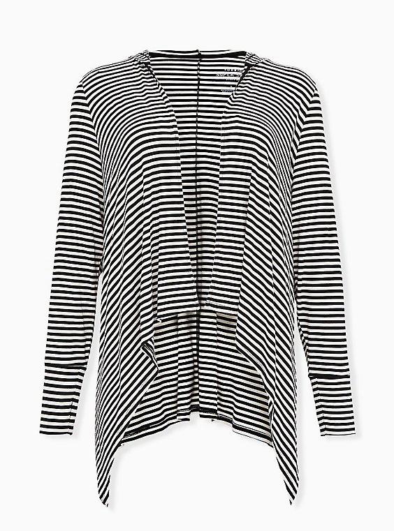 Super Soft Black & White Stripe Drape Front Hi-Lo Hooded Cardigan, STRIPE - MULTI, ls