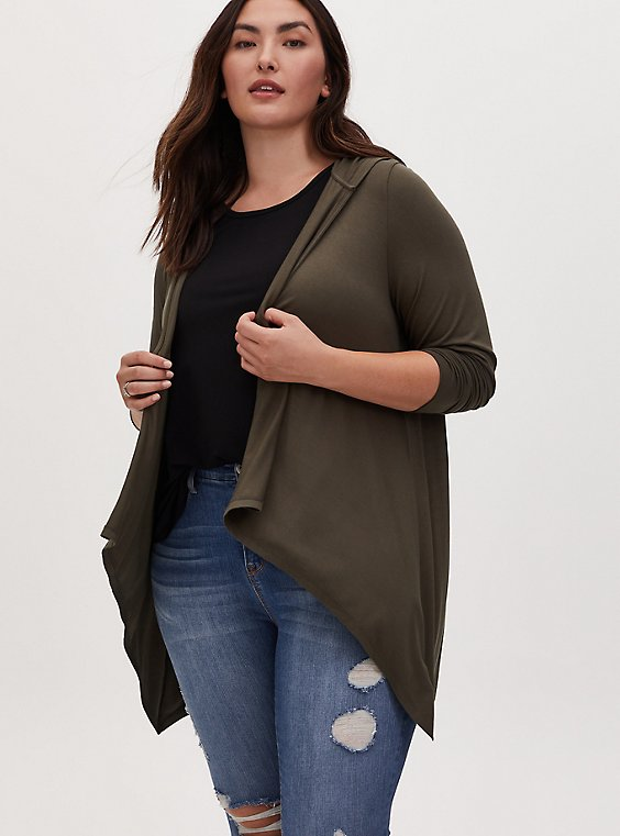 Super Soft Olive Green Drape Front Hi-Lo Hooded Cardigan, , hi-res