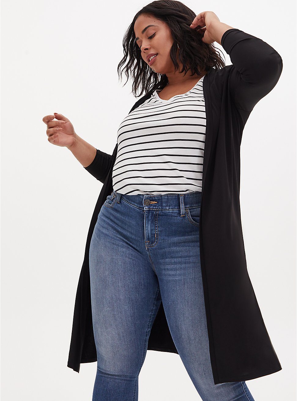 Black Studio Knit Open Front Longline Cardigan, DEEP BLACK, hi-res