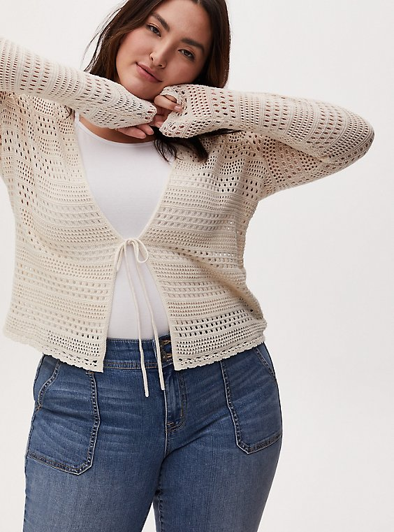 Ivory Pointelle Tie Front Cardigan, , hi-res