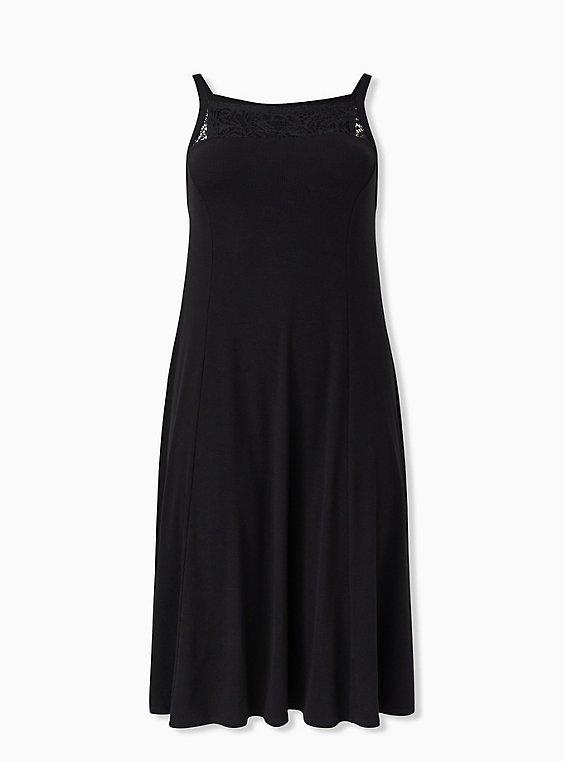 Black Rib Lace Inset Fluted Midi Dress, DEEP BLACK, ls