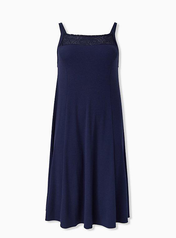 Navy Rib Lace Inset Fluted Midi Dress, PEACOAT, ls