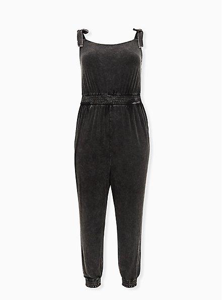 Black Mineral Wash Jersey Tie Strap Jumpsuit, DEEP BLACK, hi-res