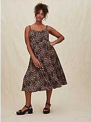 Plus Size Leopard Challis Asymmetrical Button Midi Dress, ANIMAL - YELLOW, alternate