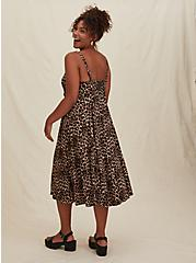 Leopard Challis Asymmetrical Button Midi Dress, ANIMAL - YELLOW, alternate