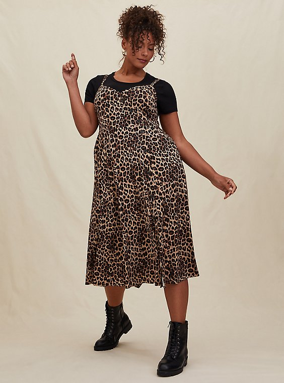 Plus Size Leopard Challis Asymmetrical Button Midi Dress, , hi-res