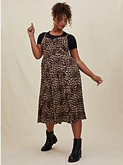 Leopard Challis Asymmetrical Button Midi Dress, ANIMAL - YELLOW, hi-res