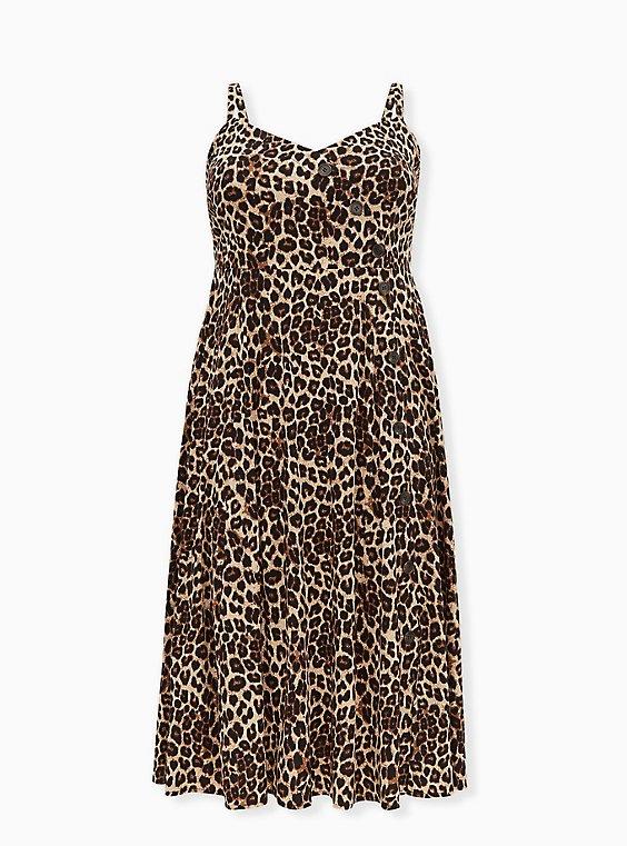 Leopard Challis Asymmetrical Button Midi Dress, ANIMAL - YELLOW, ls