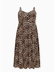 Leopard Challis Asymmetrical Button Midi Dress, ANIMAL - YELLOW, hi-res