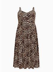 Plus Size Leopard Challis Asymmetrical Button Midi Dress, ANIMAL - YELLOW, hi-res