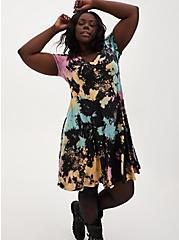 Super Soft Black & Multi Tie-Dye Flutted Mini Dress, TIE DYE-BLACK, alternate