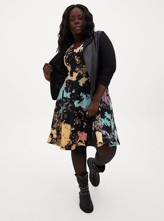 Super Soft Black & Multi Tie-Dye Flutted Mini Dress, , hi-res