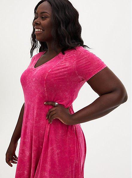 Super Soft Hot Pink Mineral Wash Fluted Mini Dress, PINK GLO, alternate