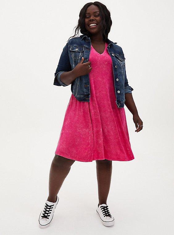 Super Soft Hot Pink Mineral Wash Fluted Mini Dress, , hi-res