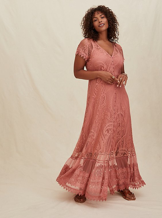 Dusty Coral Lace Button Front Maxi Dress, , hi-res