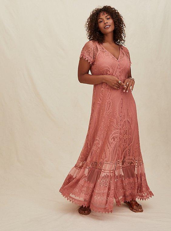Plus Size Dusty Coral Lace Button Front Maxi Dress, , hi-res