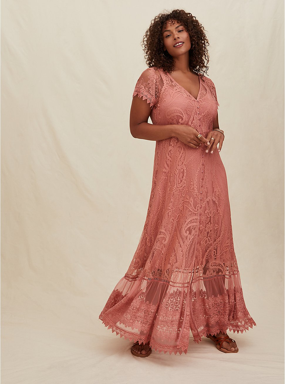 Dusty Coral Lace Button Front Maxi Dress, DESERT SAND, hi-res