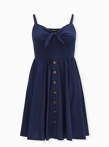 Navy Poplin Button Tie Front Mini Skater Dress, PEACOAT, hi-res