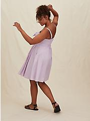 Lilac Purple Poplin Button Tie Front Mini Skater Dress, LAVENDER FROST, alternate