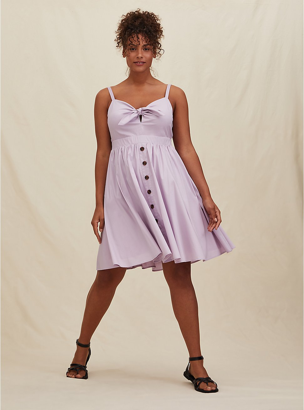 Lilac Purple Poplin Button Tie Front Mini Skater Dress, LAVENDER FROST, hi-res