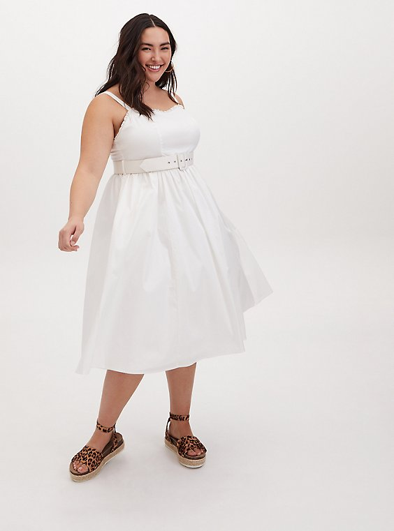 Ivory Poplin Belted Midi Dress, , hi-res