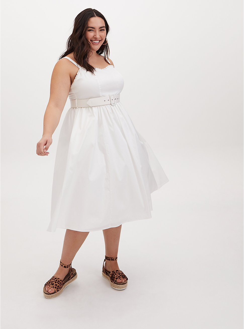 Ivory Poplin Belted Midi Dress, CLOUD DANCER, hi-res