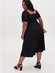 Black Poplin Puff Sleeve Midi Dress, DEEP BLACK, alternate