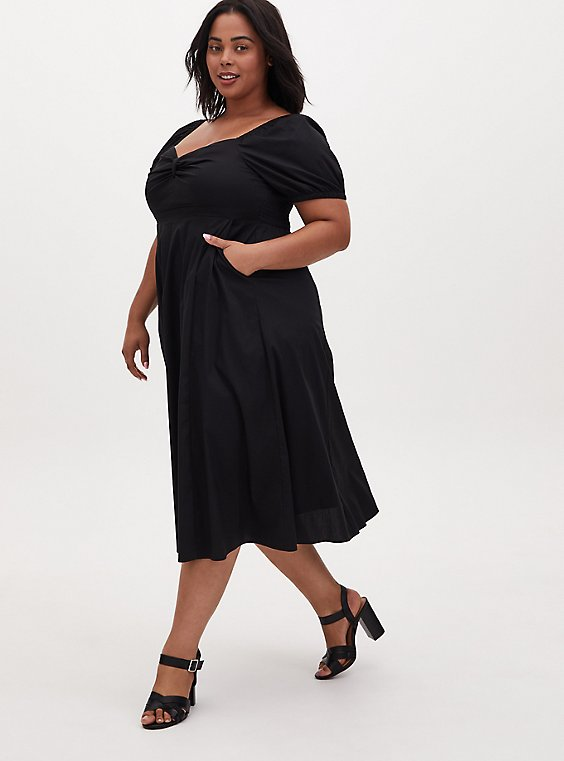 Black Poplin Puff Sleeve Midi Dress, , hi-res
