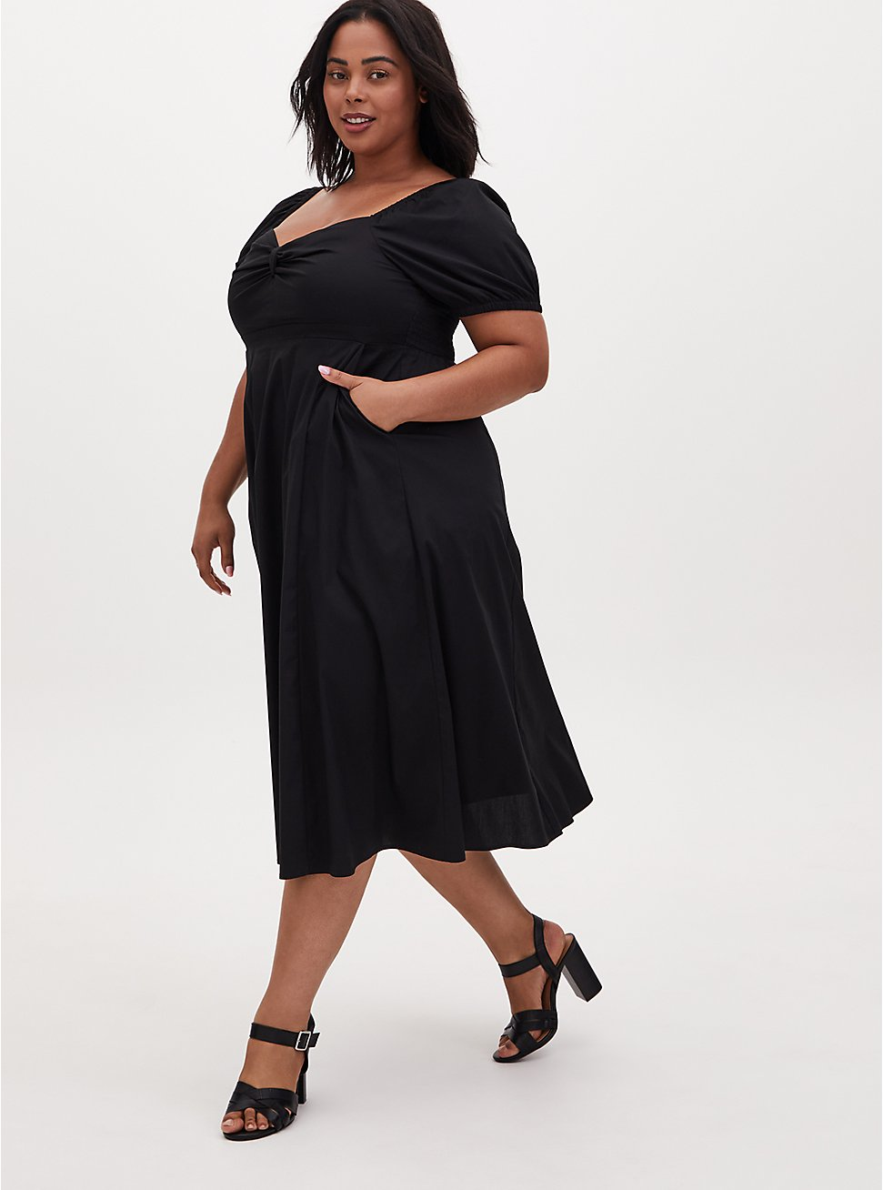 Black Poplin Puff Sleeve Midi Dress, DEEP BLACK, hi-res