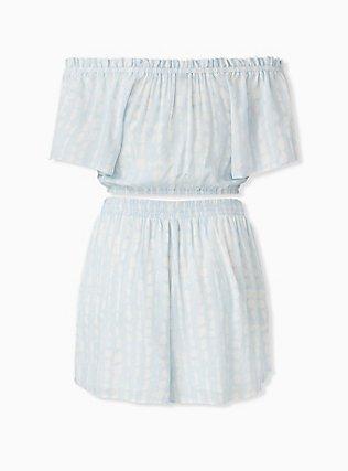 Light Blue Tie-Dye Gauze Crop Top & Drawstring Short Short Set , TIE DYE-BLUE, alternate