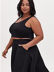 Black Scuba Knit Crop Top & Midi Skirt Set , DEEP BLACK, alternate