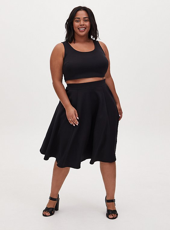 Black Scuba Knit Crop Top & Midi Skirt Set , , hi-res