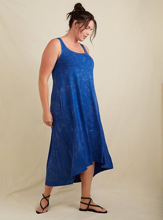 Super Soft Blue Mineral Wash Hi-Lo Maxi Dress, , hi-res