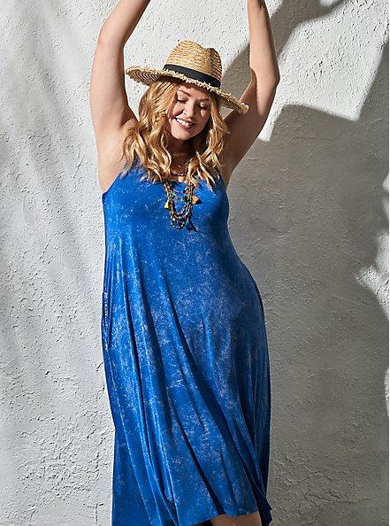 Super Soft Blue Mineral Wash Hi-Lo Maxi Dress, SURF THE WEB, hi-res