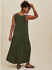 Super Soft Olive Green Mineral Wash Hi-Lo Maxi Dress, DEEP DEPTHS, alternate