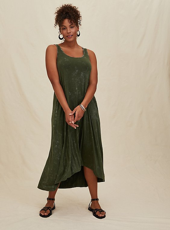Plus Size Super Soft Olive Green Mineral Wash Hi-Lo Maxi Dress, , hi-res