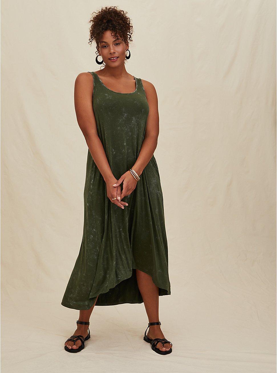 Super Soft Olive Green Mineral Wash Hi-Lo Maxi Dress, DEEP DEPTHS, hi-res