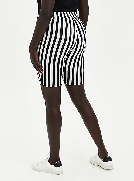 Black & White Stripe Bike Short, BLACK, alternate