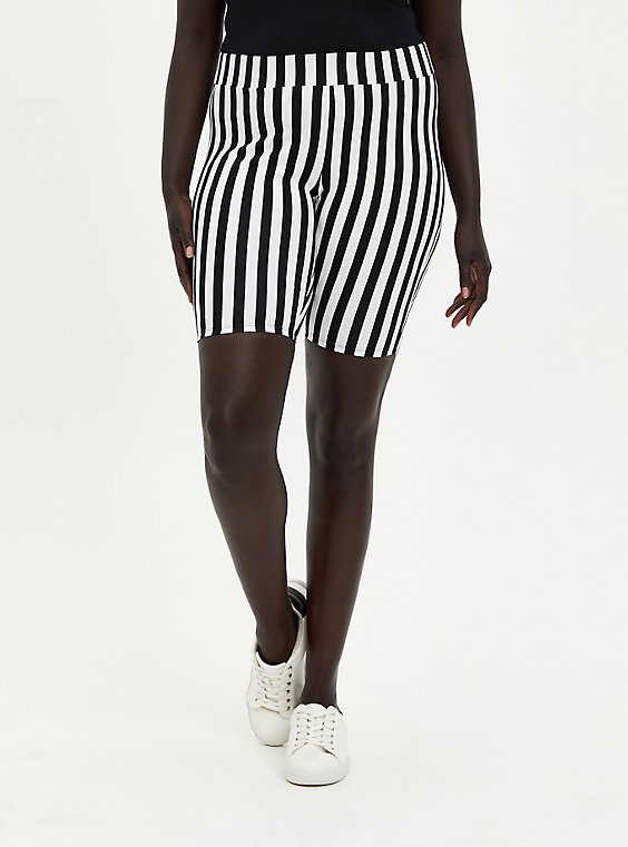 Plus Size Black & White Stripe Bike Short, , hi-res